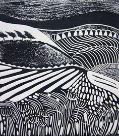 Cathy King Windswept 2011 Linocut