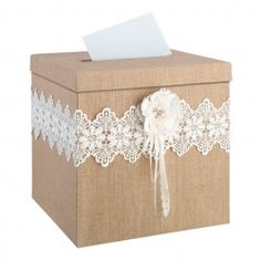 Lillian Rose Burlap and Lace Card Box. Burlap and lace with a rhinestone filled, hand crafted paper flower make this the perfect card box for a rustic wedding. Lid has a slot to place cards and slides off to retrieve them. This card box measures Wedding Gift Card Box, Rustic Card Box Wedding, Gift Card Boxes, Wedding Boxes, Wedding Cards, Wedding Favors, Wedding Gifts, Wedding Ideas, Wedding Reception