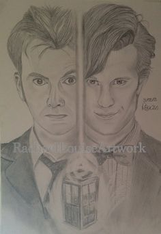 Doctor Who 50th Anniversary, David Tennant Matt Smith ORIGINAL Portrait Character Drawing