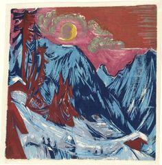 Ernst Ludwig Kirchner. Winter Moonlit Night (Wintermondnacht). 1919 (In fall 1918)