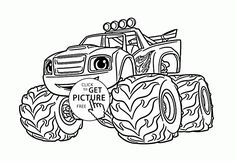 Blaze Monster Truck Cartoon Coloring Page For Kids Transportation Pages Printables Free