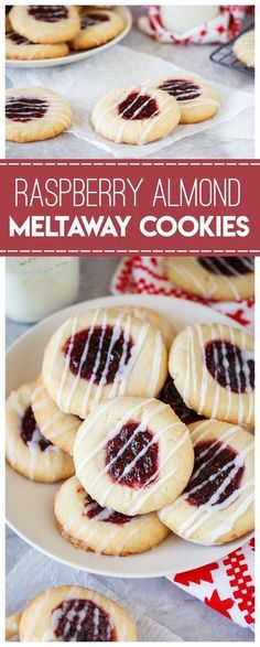 Raspberry Almond Meltaway Cookies: perfect for a holiday cookie exchange. Raspberry jelly and cookie dough come together to make a delicious cookie. Jelly Cookies, Sweet Cookies, Yummy Cookies, Sweet Treats, Sugar Cookies, Chocolate Cookies, Cookie Desserts, Just Desserts, Delicious Desserts