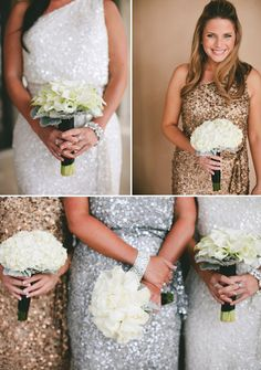 black white gold silver one shoulder sequined bridesmaid dresses / http://www.deerpearlflowers.com/2015-wedding-trends-sequined-metallic-bridesmaid-dresses/2/