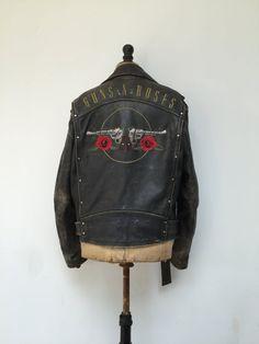 Guns N Roses Leather Embroidered Biker by FullCircleVintageUK Estilo cff5582d09eb