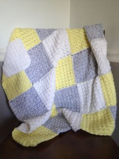 Hand Crocheted Baby Afghan Blanket Yellow and Gray Nine Patch Squares Soft and Cozy
