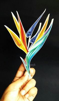 Flor Ave del Paraíso papel Quilled arte botánico por PaperSplash