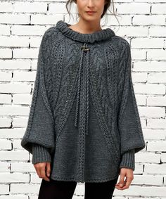 Look at this Gray Mock Neck Poncho on #zulily today!