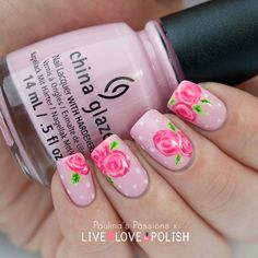 Sweet, Vintage Roses nail art by Paulina's Passions