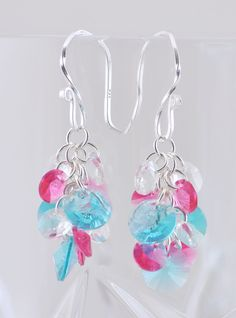Bright and colorful! Cheerful turquoise and pink Swarovski Crystal cluster earrings - prepare to smile!