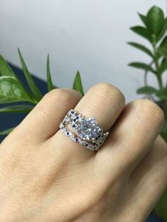 Round Cut Created White Sapphire with Sapphire Sidestone 925 Sterling Silver Women's Ring #jeulia