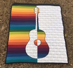 Before this set, I have made four other guitar quilts and one viola quilt in the same style. I bought the music fabric at a Black Friday sale (okay, it was really a Black Saturday sale) at JoAnn… Quilting Tutorials, Quilting Projects, Quilting Designs, Quilting Ideas, Jellyroll Quilts, Patchwork Quilting, Crazy Quilting, Applique Quilts, Small Quilts