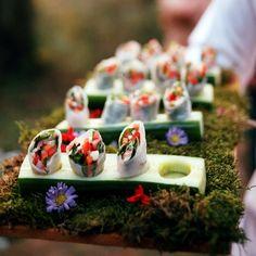 Avant-garde presentation of Vietnamese salad rolls by caterer extraordinaire Peter Callahan. Always keepin it fresh!