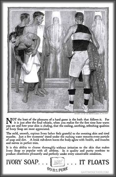 """""""The pleasures of a hard game is the bath that follows.....'    ( advertisement - circa 1910-1920 )"""