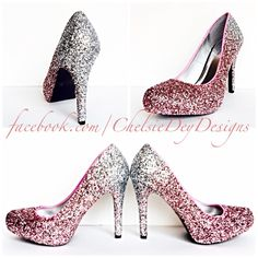 Glitter High Heels - Silver Pink Pumps - Light Pink Silver Ombre Platform  Pumps - Sparkly Wedding Shoes - Prom Heels - pinned by pin4etsy.com e968a8200