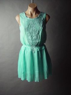 Pastel Blue 20s Vtg-y Chiffon Crochet Applique Bib Pleated Skirt Party Dress L #Other #Pleated #Casual