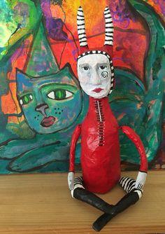 Maso the Little Demon, paper mache art doll from the Queen of Arts Studio