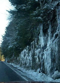 Frozen waterfall - Clingmans Dome. Its the frozen mountain on the way up to Clingmans Dome