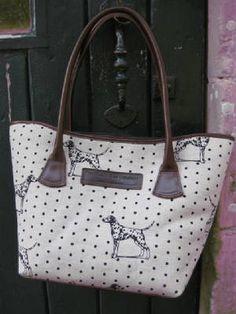 Dalmation - Emily Bond England Vanessa Arbuthnott, Emily Bond, Dalmations, Dog Bag, Fabrics, England, Handbags, Lady, Dogs