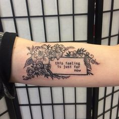 Decorative quote on arm by Wa Ink #armtattoos