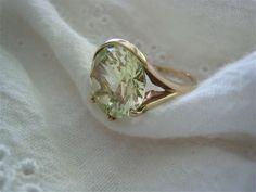 Headlight Green Topaz Ring 10K Gold Interesting Setting from susabellas on Ruby Lane