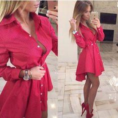 Günstige 2016 neue Herbst Fashion Damen Shirt Kleid Kleine Punkte Gedruckt Mode…