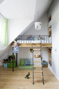 The slide connected to the loft bed is most likely one of the most-loved features among kids. A loft bed differs from a bunk bed as it's elevated and there's only 1 bed. Bunk beds and loft beds provide distinctive… Continue Reading → Cool Loft Beds, Bunk Beds With Stairs, Kids Bunk Beds, Loft Spaces, Kid Spaces, Small Spaces, Built In Beds For Kids, Rooms Decoration, Small Room Design