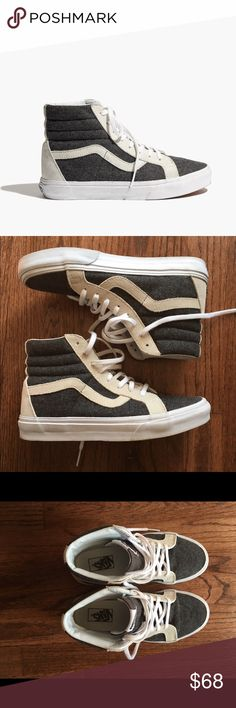 Vans Sk8 High Tops for Madewell Super cool gray flannel Vans high tops sold  at Madewell 16c1077fd1c