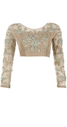 Nude Embroidered Blouse With Sleeves.