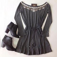 Vestido Max bordado M/L cinza - Casual - Vestidos