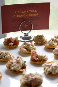 Making sure your appetizers are finger food friendly and also presented impeccably is a crucial part of your cocktail hour. You can't go wrong with these divine bite sized crisps.  Design by Weddings by JDK Pin from DreamWeddingsPA.com