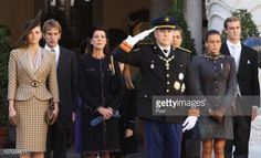 Charlene Wittstock, Andrea Casiraghi, Princess Caroline of Hanover, Prince Albert II of Monaco, Charlotte Casiraghi, Princess Stephanie of Monaco and Pierre Casiraghi attend the Award Ceremony for badges of rank and medals for employees in the courtyard of the Monaco Palace as part of Monaco's National Day celebrations on November 19, 2010 in Monaco, Monaco.