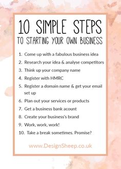 10 Simple Steps to Starting your own Business