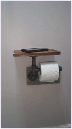 """Industrial Toilet Paper Holder, Farmhouse Toilet Paper Holder, Plumbing Pipe Toilet Paper Holder, Industrial Bathroom, Rustic - with Shelf - Constructed of ½"""" iron pipe made from unfinished fittings with a natural gunmetal color. Industrial Toilets, Industrial House, Industrial Farmhouse Decor, Industrial Furniture, Vintage Industrial, Industrial Bathroom Design, Plumbing Pipe Furniture, Rustic Bathroom Designs, Industrial Style"""