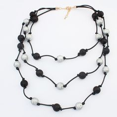 Fashion Necklace Jewelry, Zinc Alloy, with PE Plastic & Waxed Linen Cord