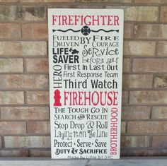 Firefighter Typography Wood Sign - SKU-902
