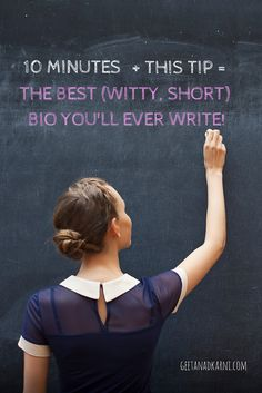 How to write a good (funny, short) bio in under 10 minutes! #blogging #tips by Geeta Nadkarni