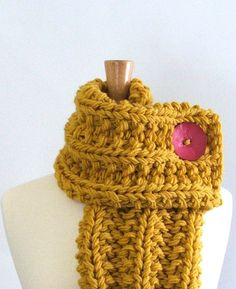 Chunky Knit Mustard Yellow Cowl Scarf with Large by AMarieKnits, $39.00