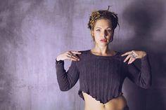 Dyed Purple Crop Sweater / Half Sweater / Crop Top / Jumper / www.morethanmammalinc.etsy.com #royalpeasantry #shopping #fashion #sweater #croptop #layeredfashion #postapocalypticfashion