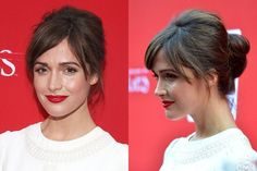 Rose Byrne voluminous vintage-inspired bun hairstyle with side-swept bangs and red lipstick   allure.com