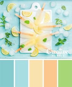 Homemade lemonade popsicles with mint and ice on white ceramic board over blue turquoise background, top view Summer Color Palettes, Color Schemes Colour Palettes, Pastel Colour Palette, Colour Pallette, Summer Colors, Pastel Colors, Color Combos, Summer Flowers, Decoration Palette