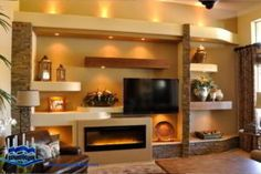Contemporary wallpaper for home drywall entertainment center with fireplace contemporary wallpaper samples family room and custom Wall Units With Fireplace, Fireplace Design, Fireplace Wall, Fireplace Ideas, Foyer Mural, Contemporary Family Rooms, Entertainment Wall Units, Entertainment Fireplace, Maila
