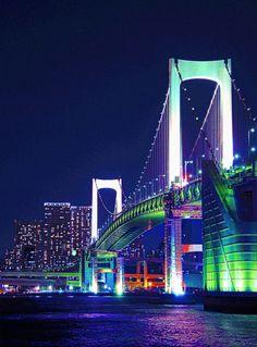U2 Poster, Tokyo Japan Travel, Odaiba, Arch Bridge, Paradise On Earth, City Landscape, Rainbow Bridge, City Lights, Places To See