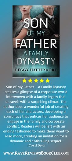 A great read by PEGGY HATTENDORF, author of SON OF MY FATHER Pick this book up today! #RRBC