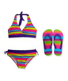 Take a look at this Purple Stripe Halter Bikini & Flip-Flops - Girls on zulily today!