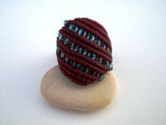 Macrame ring. Ring for Christmas. Ring handwoven. Ring by asmina, $12.00