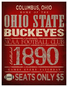 Ohio State Buckeyes - Great sign for a man cave. Hubby would love it.