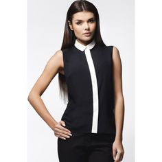 Define an ensemble with this stretch-blend top. Black Blouse, What To Wear, Evening Dresses, Athletic Tank Tops, Oxford, Polo Ralph Lauren, High Neck Dress, Womens Fashion, Shopping