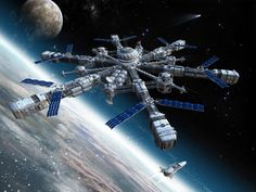 space stations | Wallpaper Space Station Spaceship Pla Space Graphics Desktop Design ...