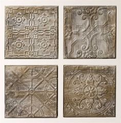 DETAILS We love these embossed tin tiles! Available in an assorted 4 patterns with gorgeously distressed finish to give them an authentic looking vintage app
