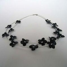 Bike inner tube flower necklace